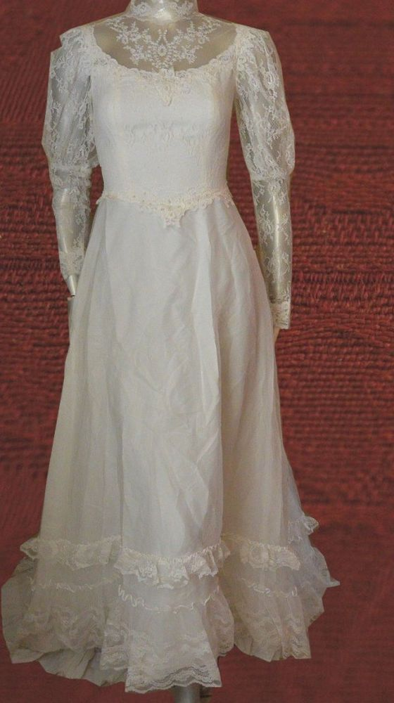 Vintage Jcpenney Fashions Wedding Dress Prairie Boho Lace S 5 6 With Veil