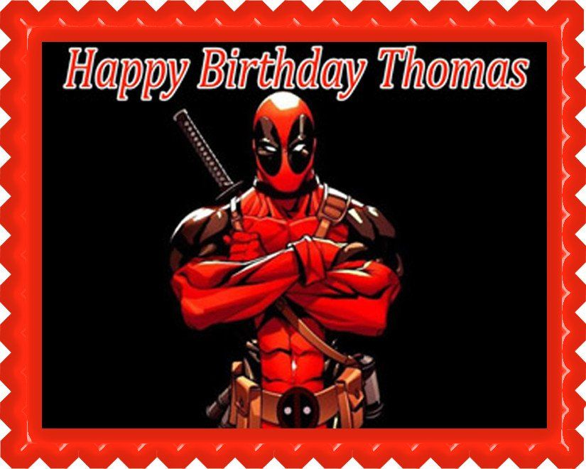 Deadpool edible Cake /& Cupcake toppers  image Fast shipping!!!!