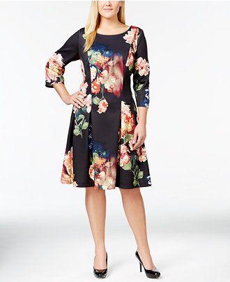 Sl Fashions Plus Size Pleated Scuba Flare Dress Wear To Work
