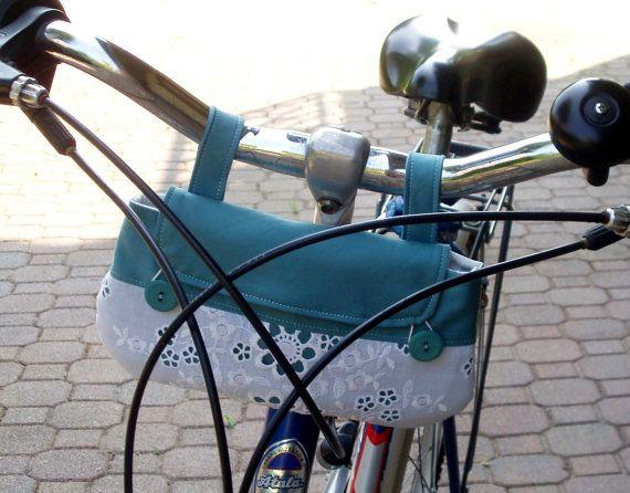 Handlebar bike bag. Aquamarine and white. Romantic. Open-worked lace ...