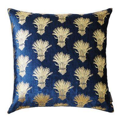Navy Velvet Sheath Of Wheat Pillow Velvet Pillows Blue Throw Pillows Plush Throw Pillows