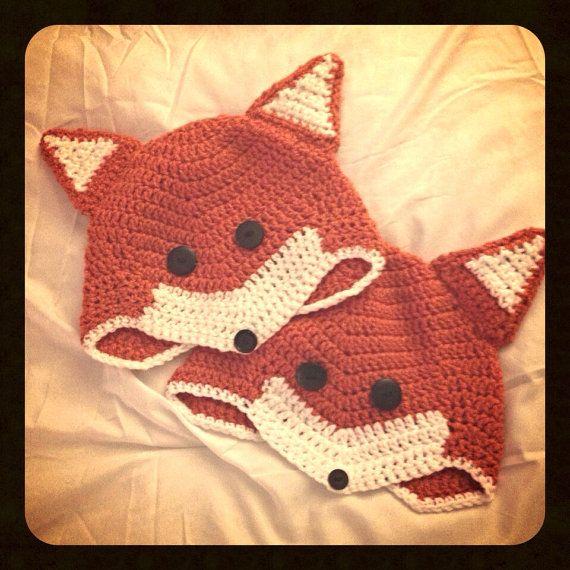 Crochet Fox Hat on Etsy | Crochet (Animal Hats) | Pinterest | Ideas ...
