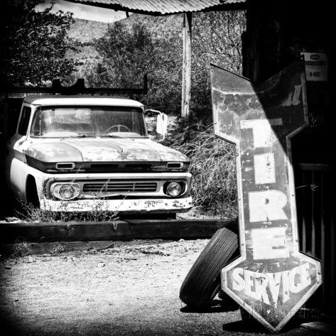 Photography style route 66 gas station black and white photography vintage