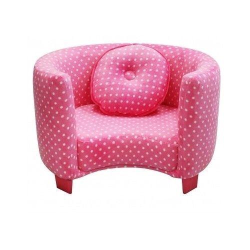 Girls Pink Club Chair Polka-Dot Bedroom Furniture Soft Durable Pillow Princess