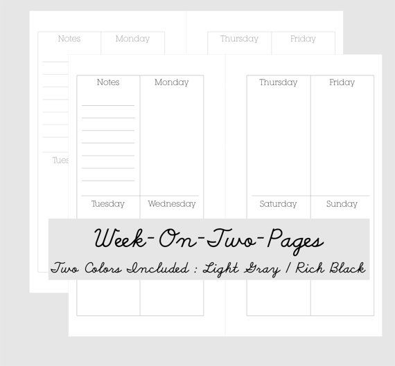 Week On Two Pages Calendar Personal Planner Pages Printable Calendar