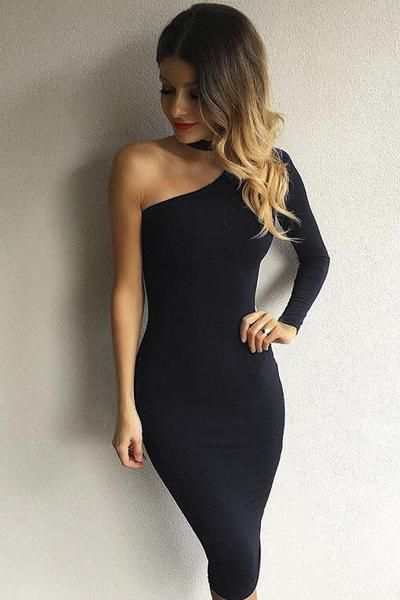 a38402f76106 Classy Lady Black One Shoulder Mini Dress Club Party Dresses, Bodycon Dress  Parties, Sexy