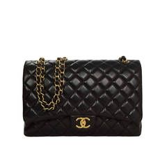 CHANEL Black Quilted Lambskin Classic Maxi Double Flap Bag GHW