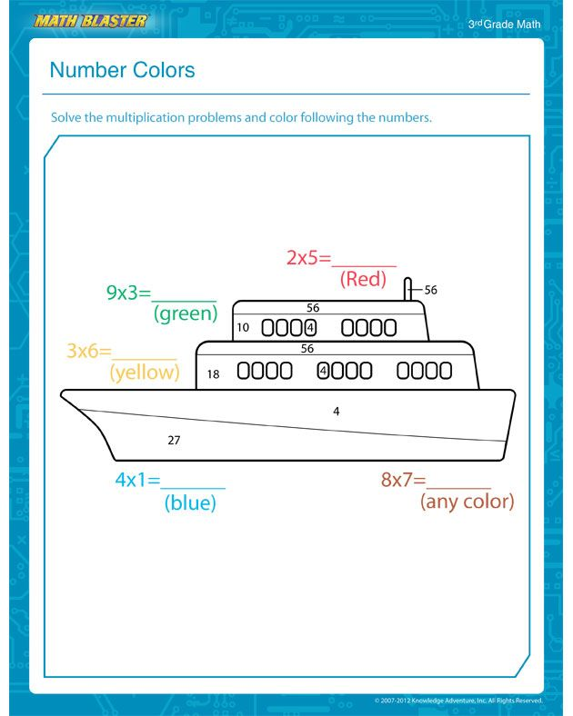 Number Colors - Free Math Worksheet for 3rd Grade | Recipes ...