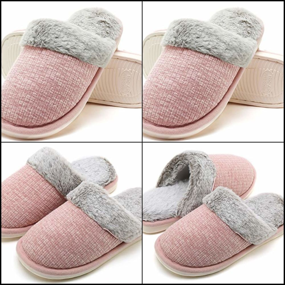 4c53545dc49ee Womens Comfy Fuzzy Slippers Knitted Memory Foam Slip On House ...