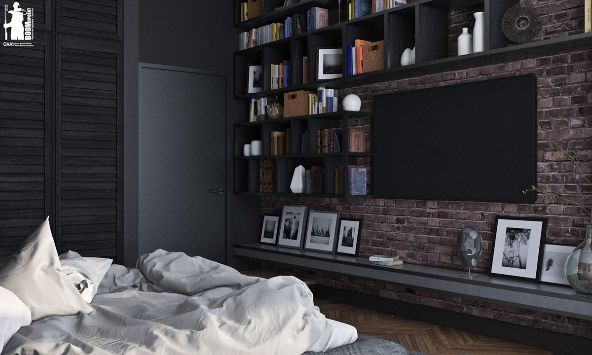 Best 7 Stylish Bedrooms With Lots Of Detail Black Brick Wall 400 x 300