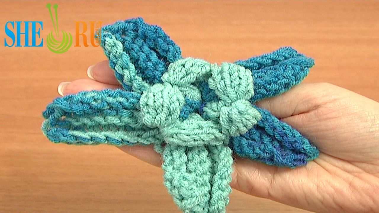 Knitted Five Petal Puffy Center Flower Tutorial 27 Free Knitting ...
