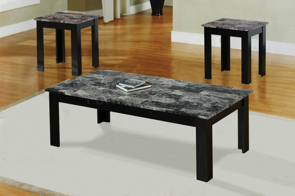 Black Granite Coffee Table Set Faux Marble