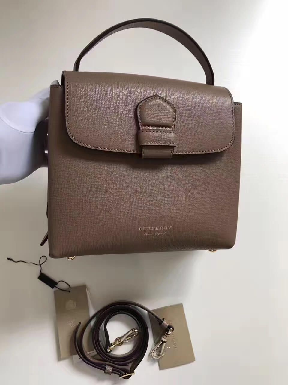 a2ca152297d8 Burberry Small Grainy Leather and House Check Tote Bag Dark sand 2017