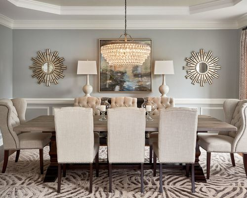 Different chandelier but love this room dining for Country dining room wall art