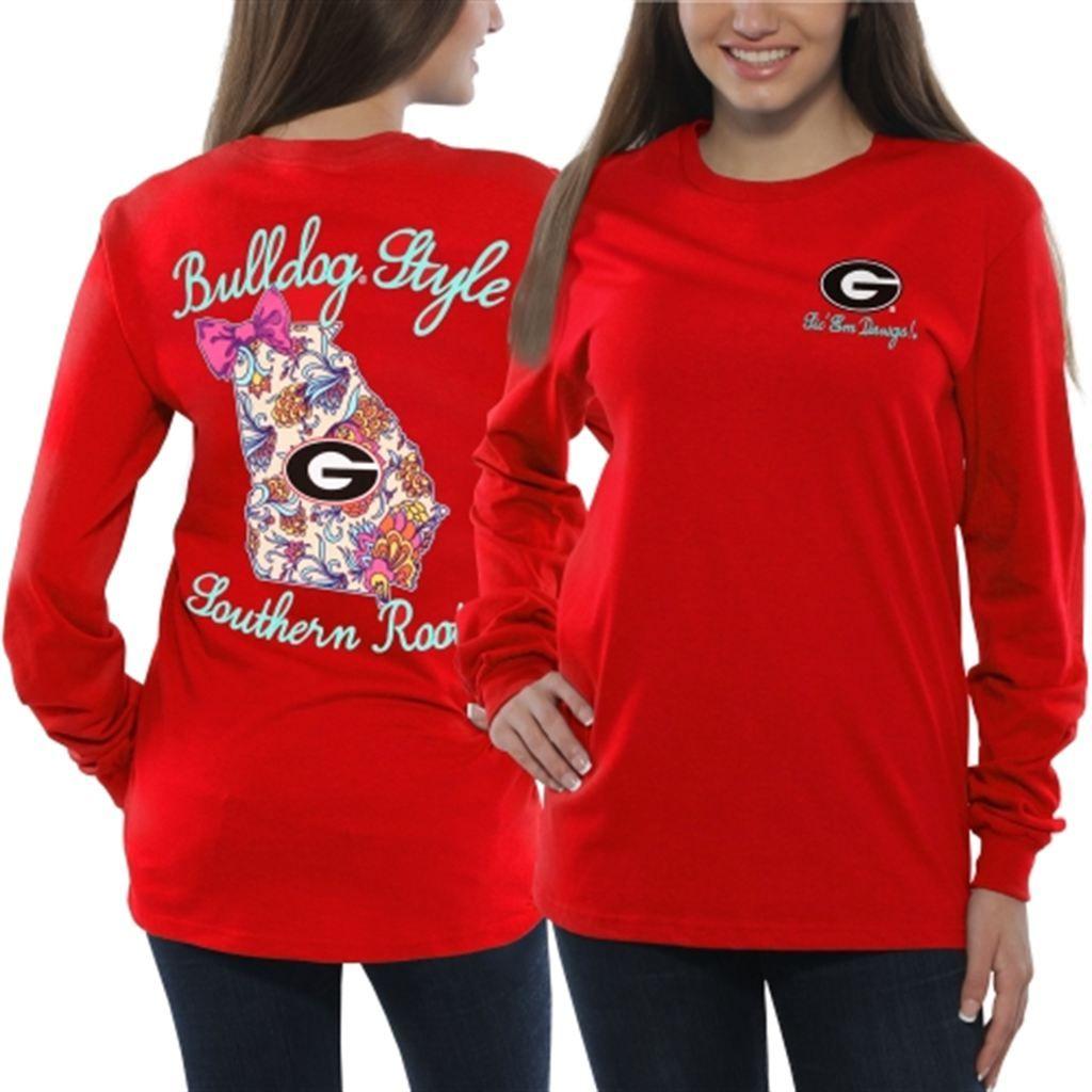 003d33ad31cf1 Georgia Bulldogs Women's Bright Bow Long Sleeve T-Shirt – Red Georgia Shirt,  University