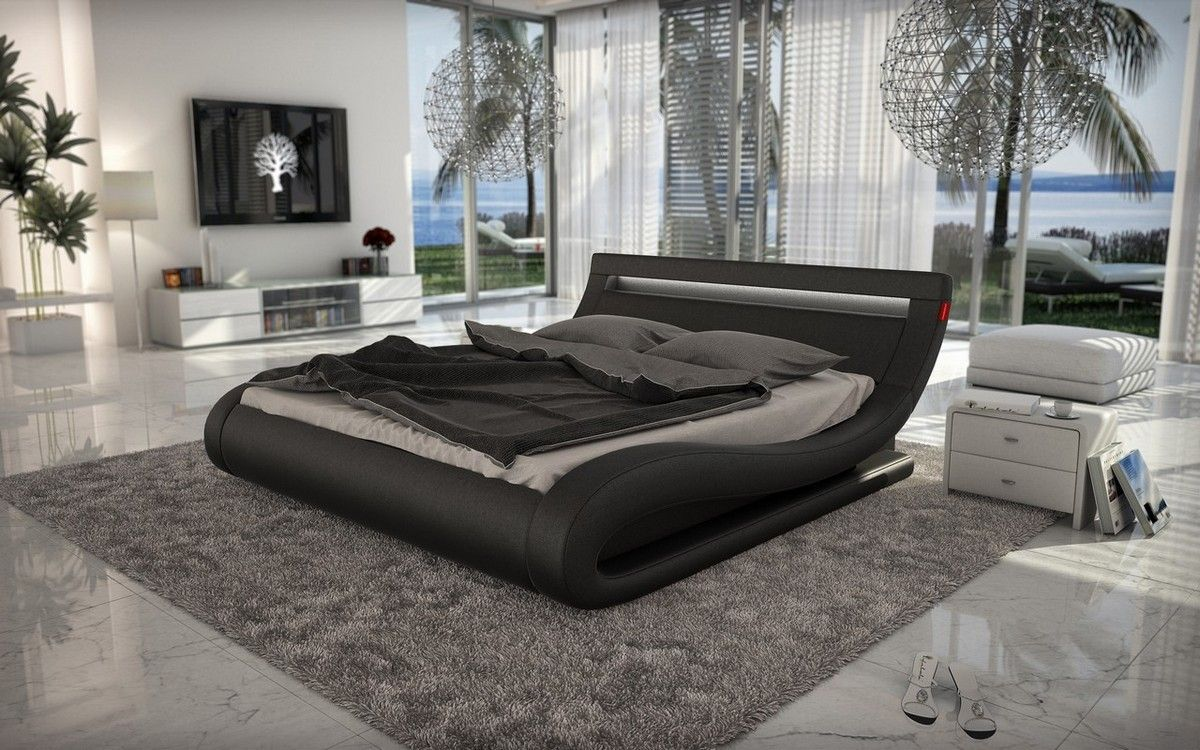 Curvy Design Black Padded Adjustable Headrest Queen Size Bed Frame