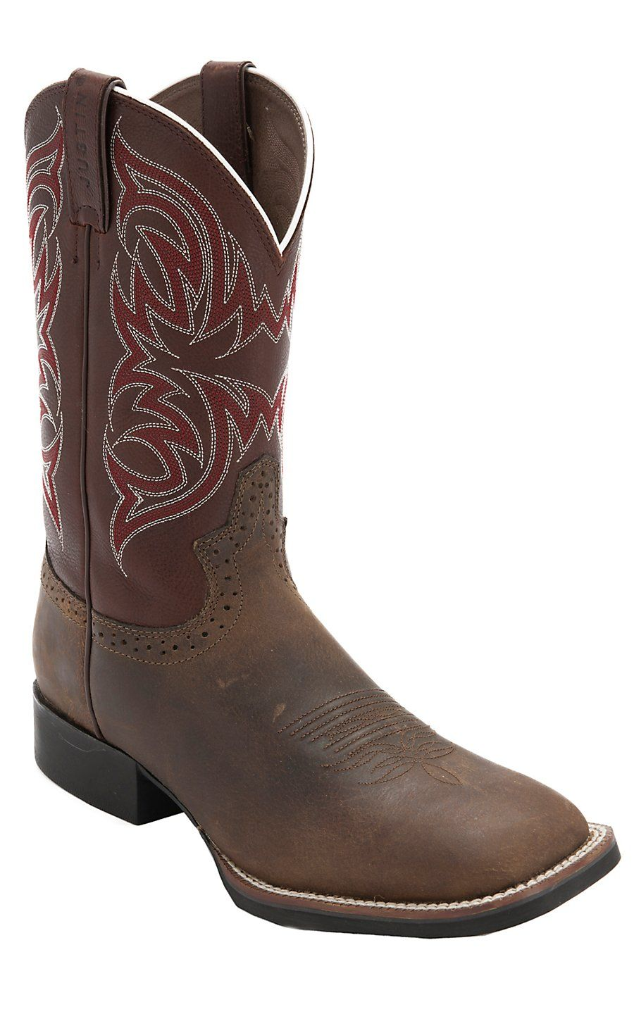 Justin Stampede Rugged Tan With Rust Top Double Welt