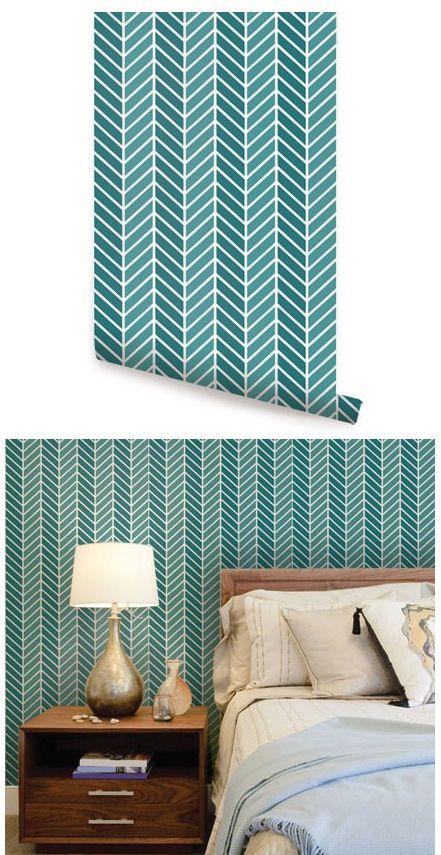 Herringbone Two Tone Teal Peel Stick Wallpaper Peel And Stick Wallpaper Decor Home