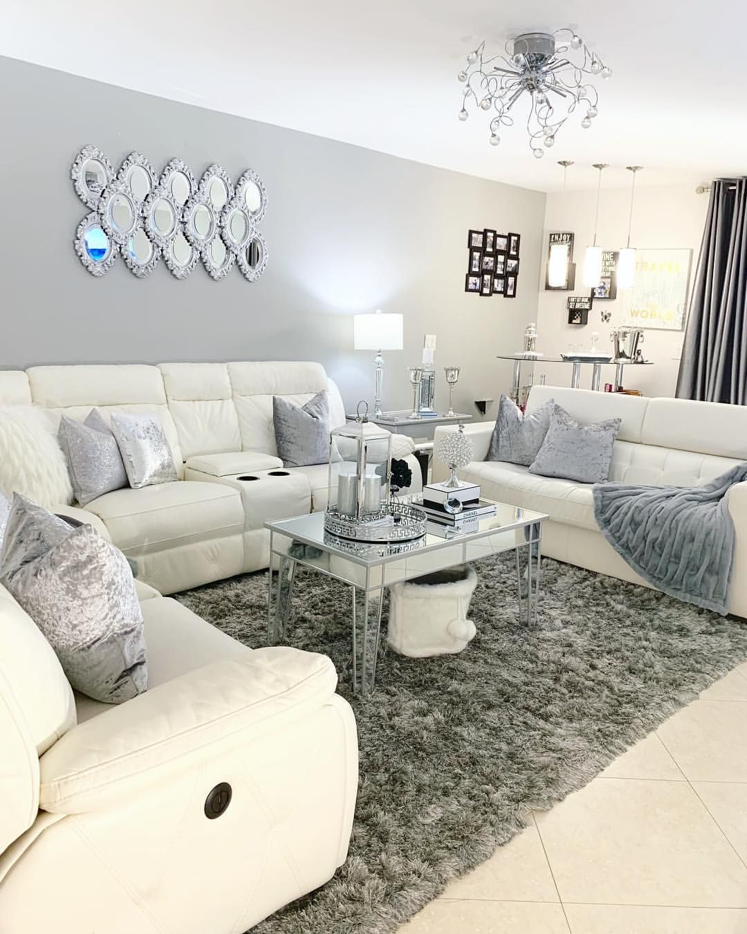 Glam home decor ideas, Luxury living room, silver decor, diy, glam