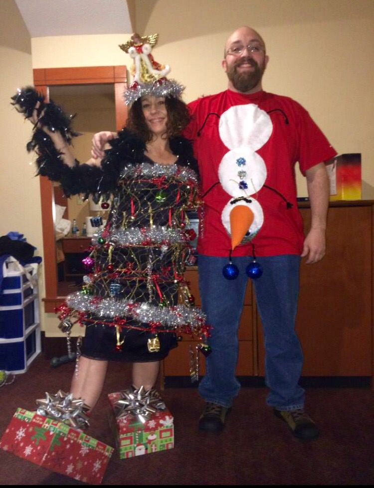 2013 Crazy Christmas outfits! (Ugly Sweater Party) Snowman with blue balls  and Christmas tree dress with gift box shoes and angel h… - 2013 Crazy Christmas Outfits! (Ugly Sweater Party) Snowman With Blue