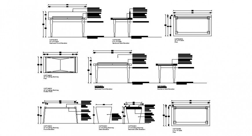 Office table elevation, section and plan cad drawing