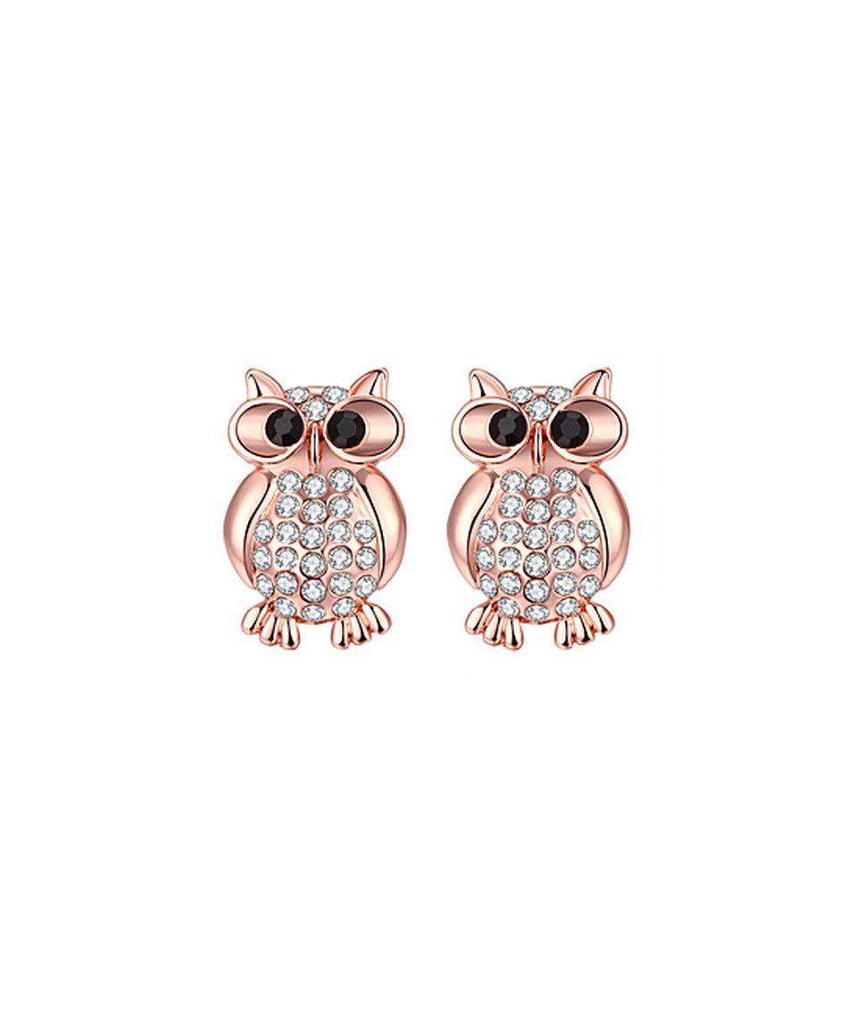 85349a57a Love this Swarovski® Crystal & Rose Gold Owl Stud Earrings by Riakoob on # zulily! #zulilyfinds