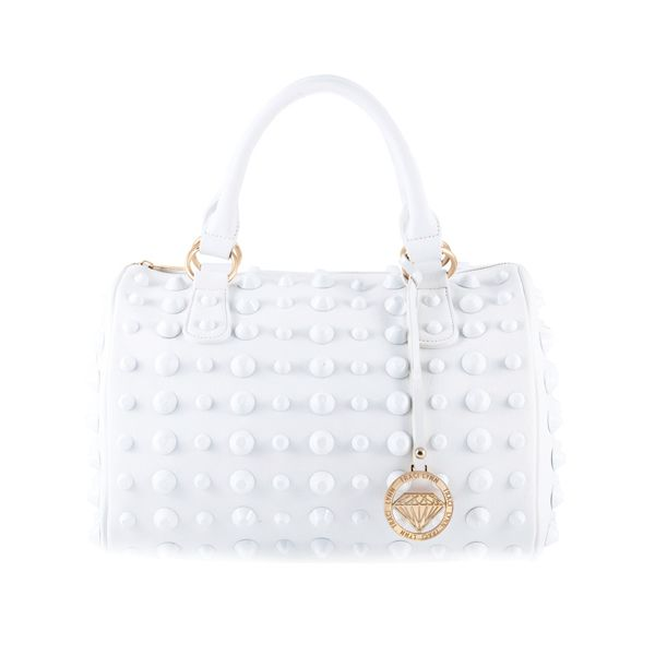 Cute, gorgeous and chic white studded handbag tote with white ...