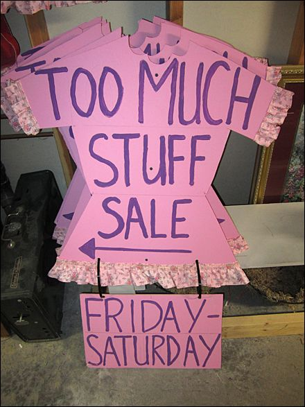 Too Much Stuff Consignment Sale Silhouetted Sign