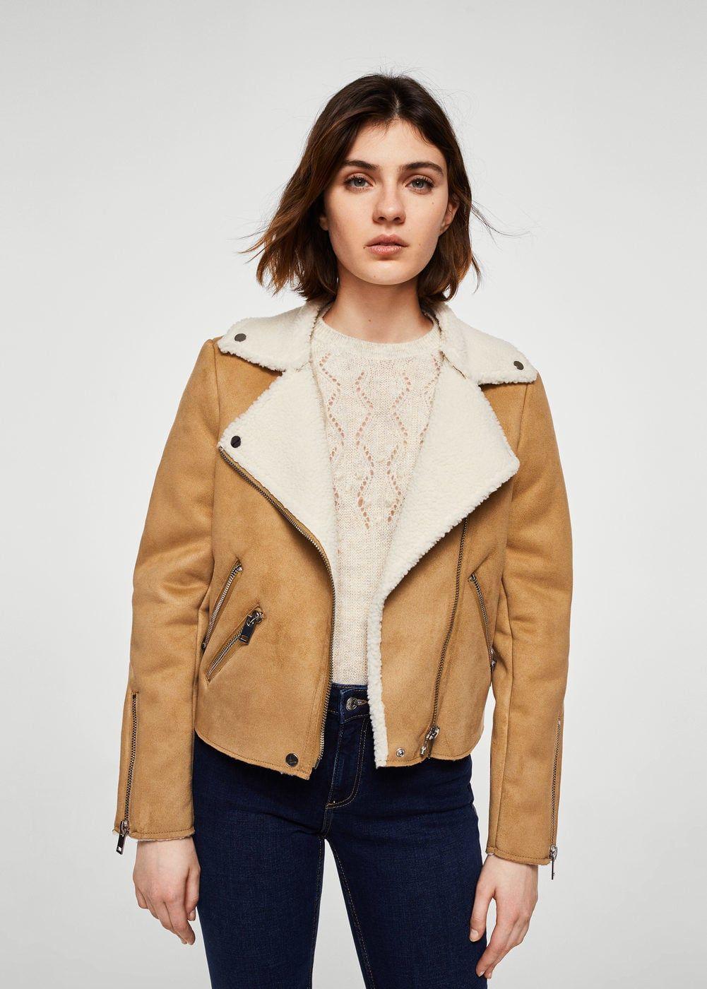 f59a7822e2 Faux shearling-lined biker jacket - Women