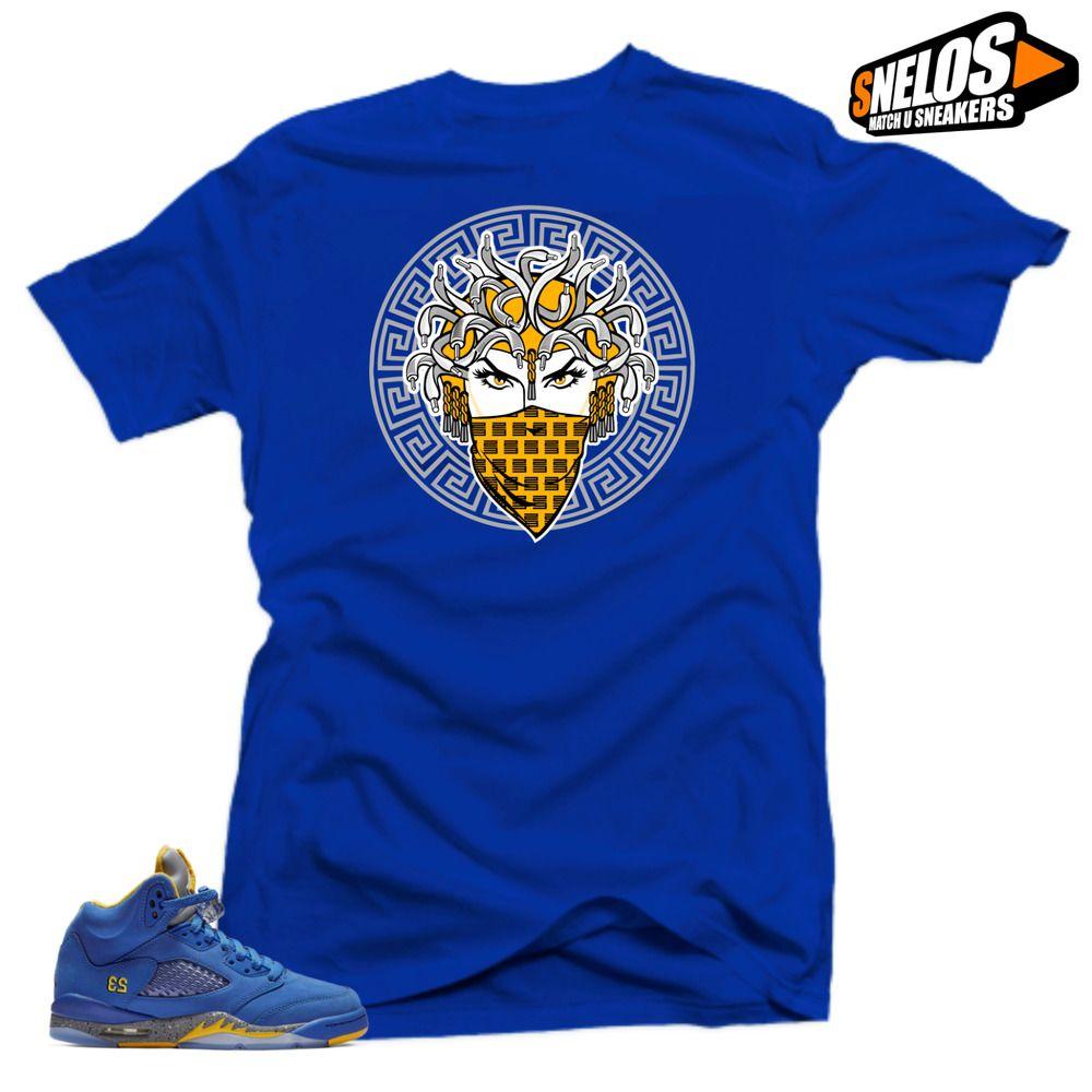 c74d6491c9fd Shirt to Match Jordan Retro 5 Alternate Laney JSP-Medusa 5 Blue Tee  SNELOS   PersonalizedTee