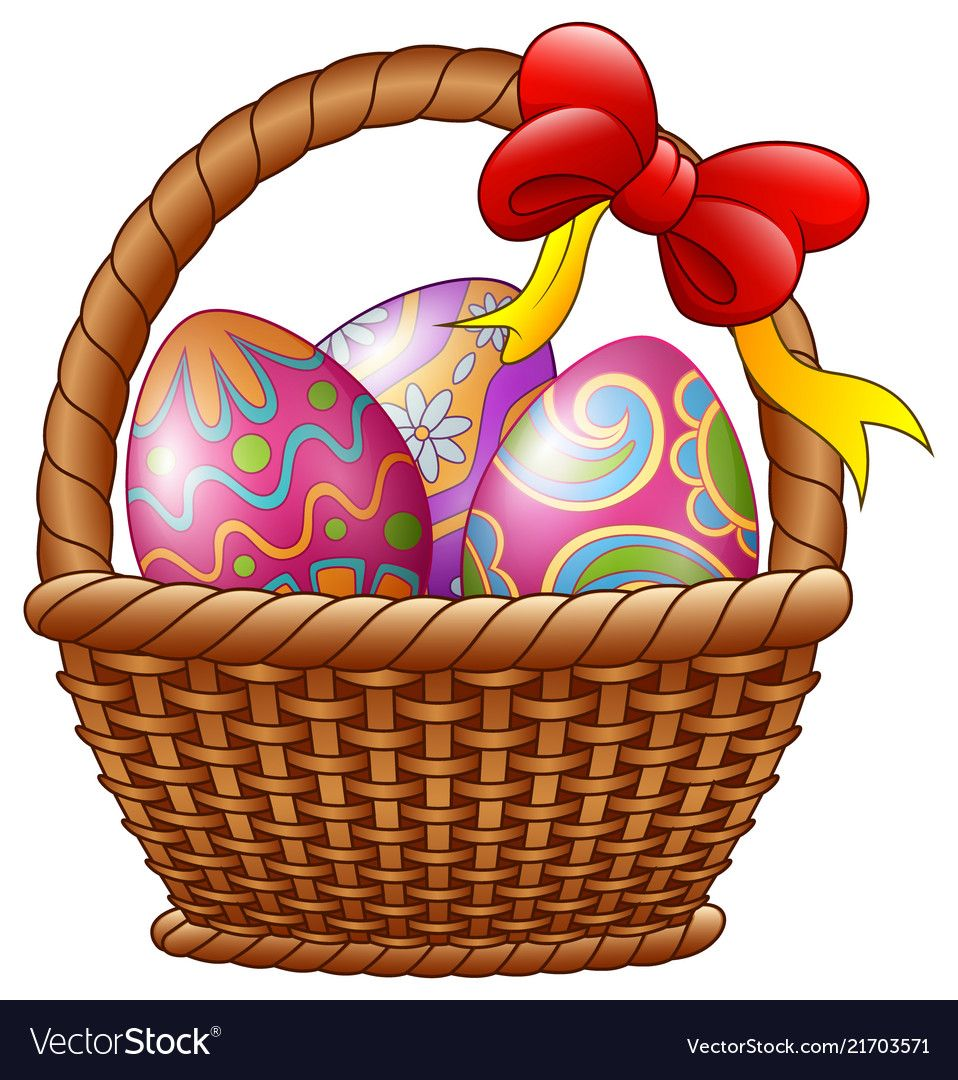 Wicker Basket With Decorated Easter Eggs And Red B Easter Wallpaper Easter Eggs Easter Bunny Decorations