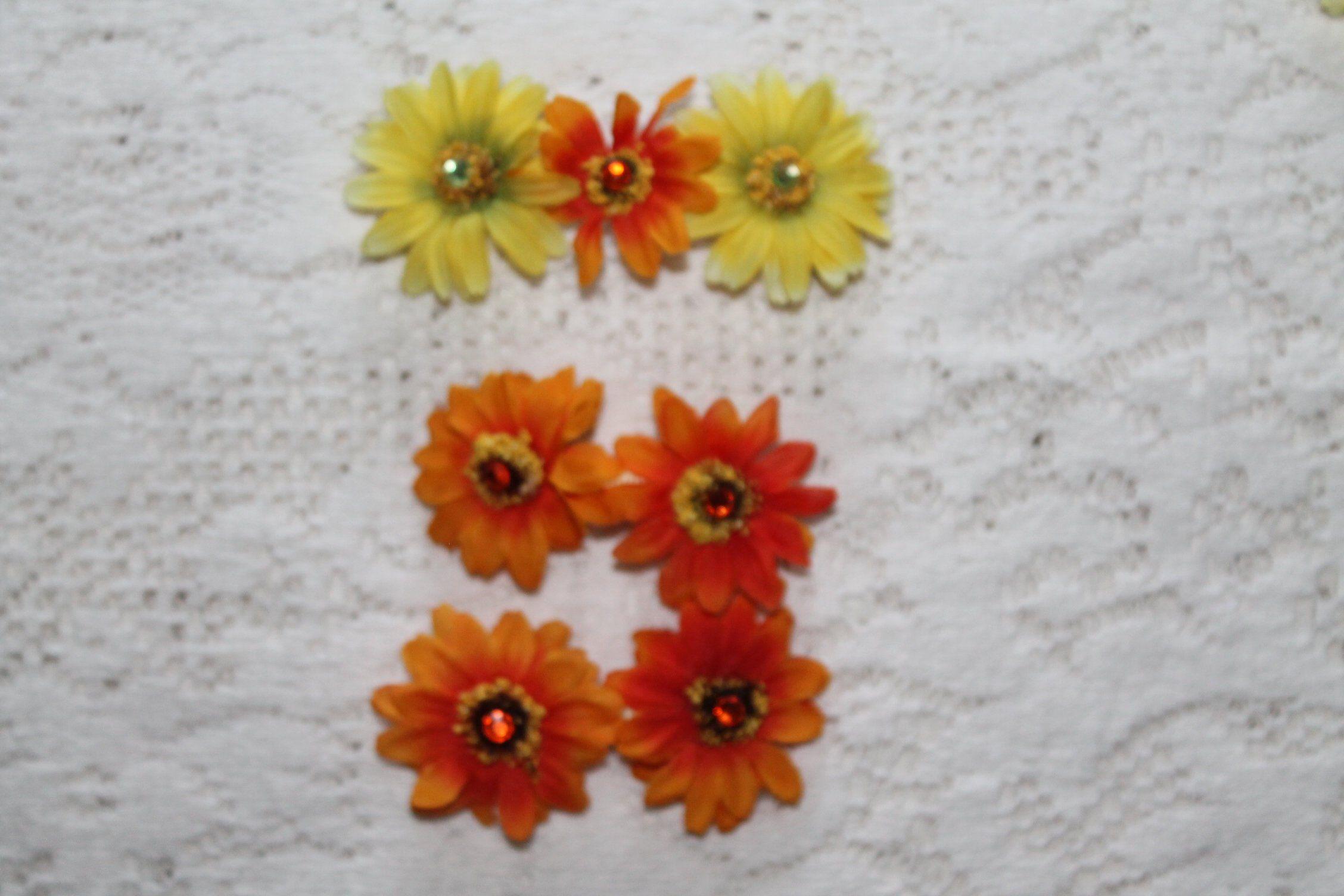 Daisy Gift Daisy Hair Clips Flower Hair Clips Orange Daisy Hair Slides