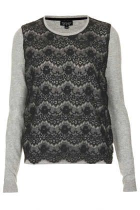 knitted lace front jumper / topshop