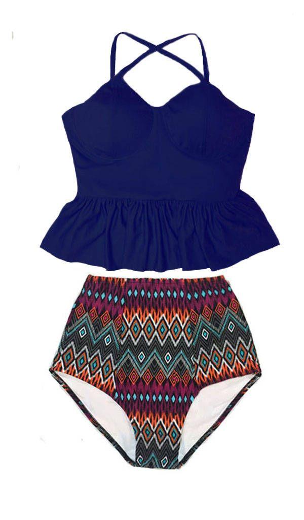 ea5422c98eebb Navy Blue Long Peplum Tankini Top and Tribute High Waisted Waist Bottom  Handmade Swimsuit Bikini set Swimwear Swimming Bathing suit S M L XL by  venderstore ...
