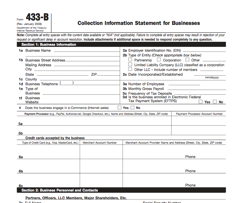 Irs Form 433 B Collection Information Statement For Businesses Visit
