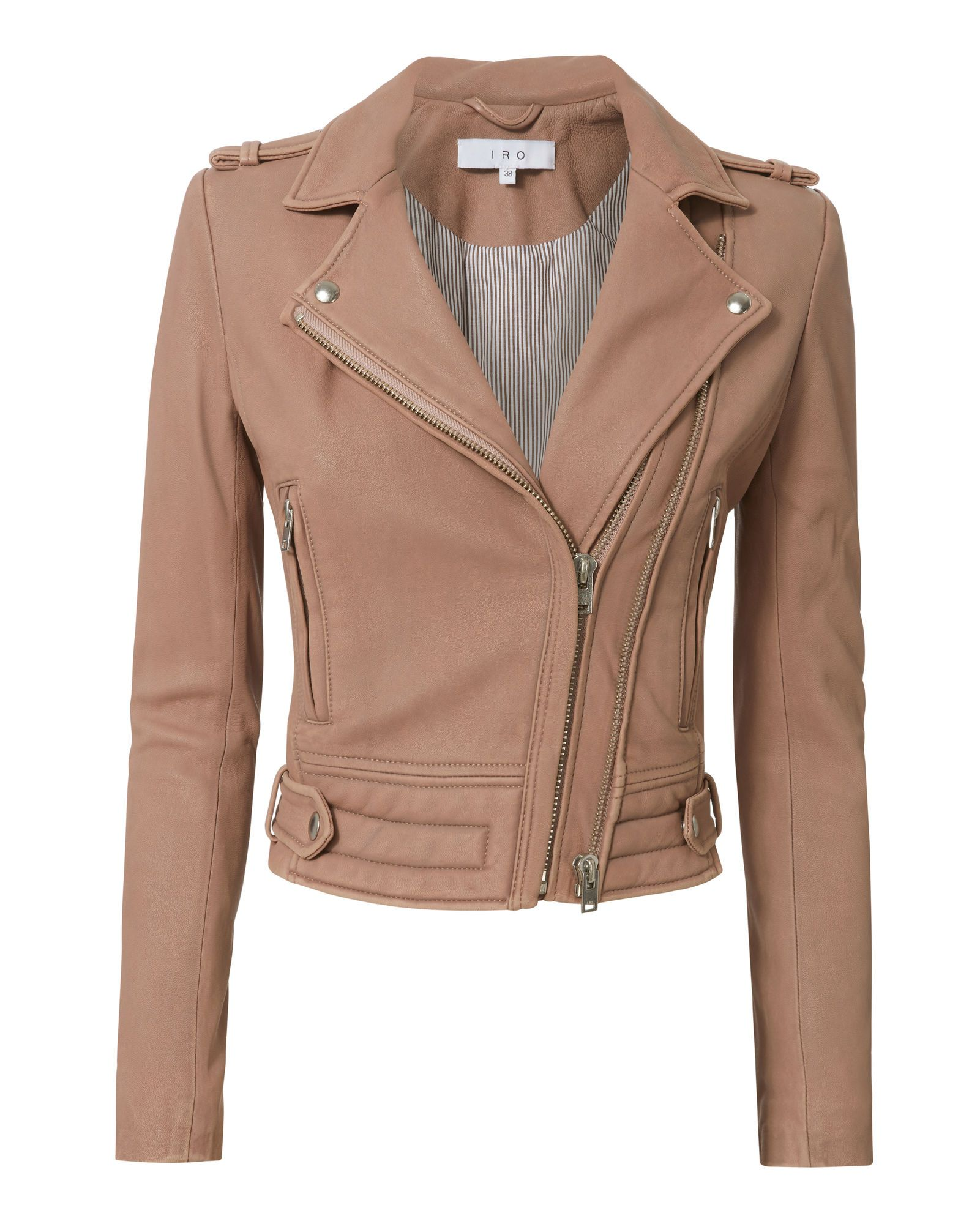 Luiga Pink Leather Cropped Moto Jacket Cropped Leather Jacket Beige Leather Jacket Leather Jackets Women [ 2000 x 1601 Pixel ]