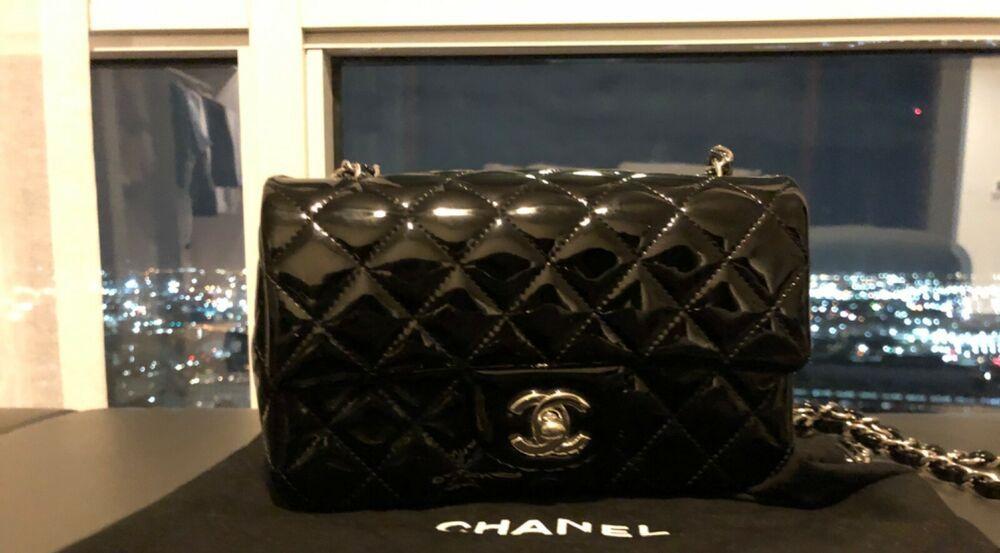 58b7259ae079 Chanel mini classic cc handbag flag bag logo black patent leather 100%  authentic