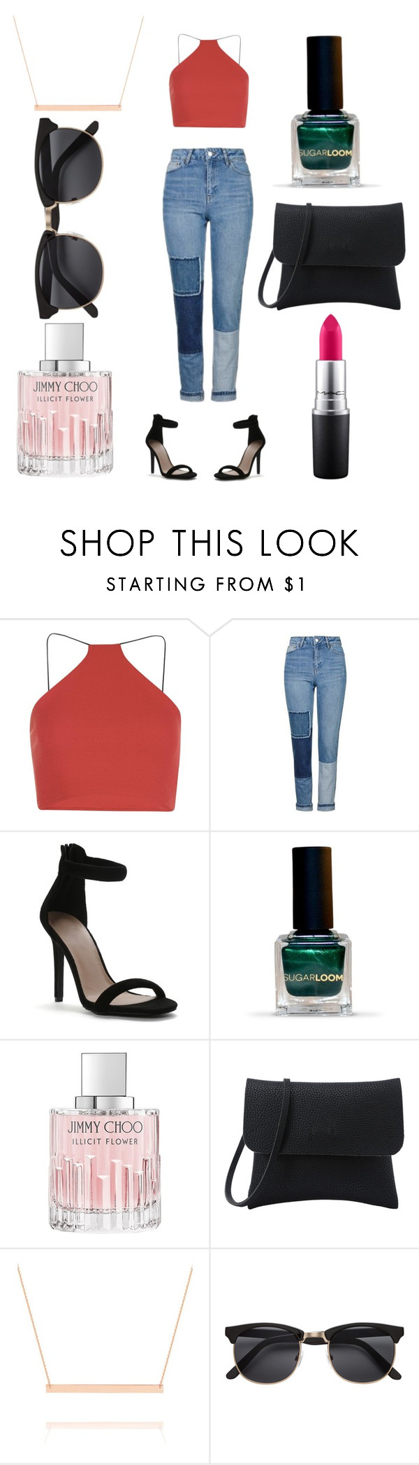 """""""Senza titolo #19"""" by rebeccabolzoni ❤ liked on Polyvore featuring Milly, Topshop, Jimmy Choo, Belk & Co. and MAC Cosmetics"""