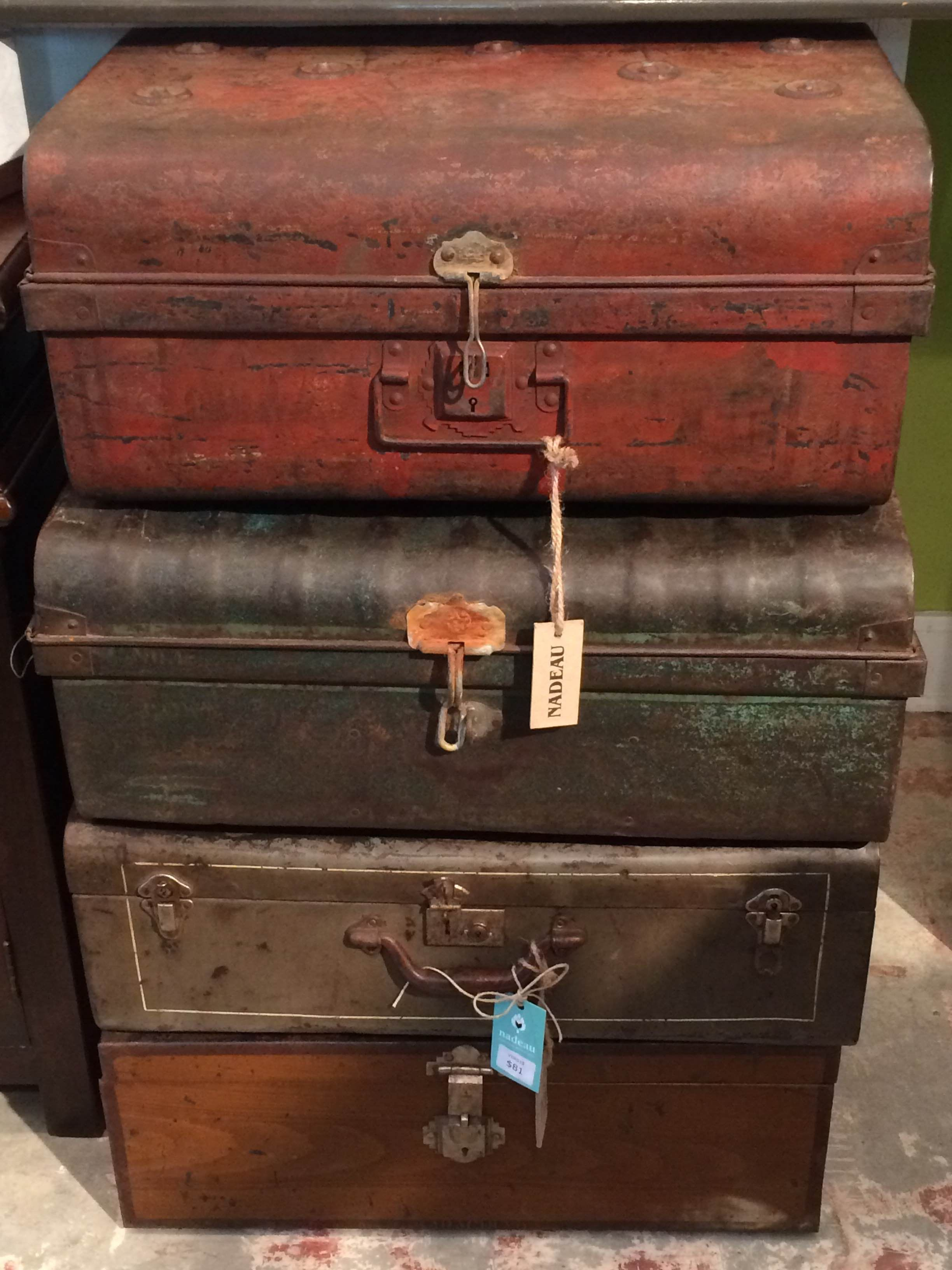 #Vintage #Metal #Suitcases at #Nadeau #NOLA $81 each and one-of-a-kind
