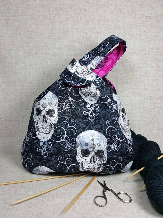 Japanische Knotentasche Halloween mit glitzernden