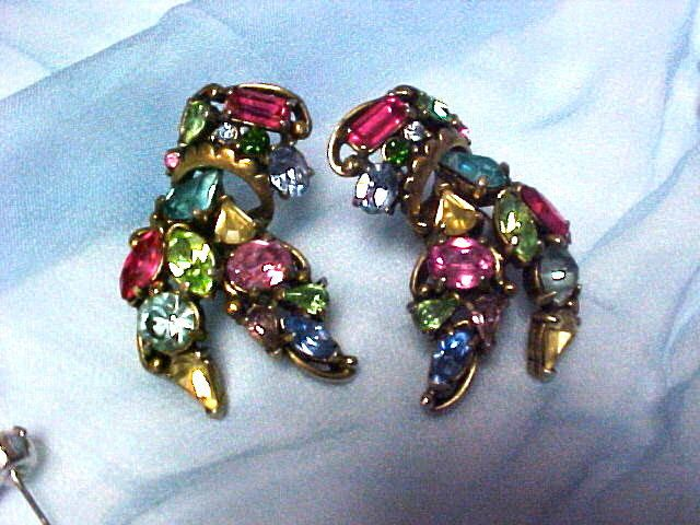 Vintage Earrings HOLLYCRAFT Clip Bold Color Rhinestones #1254 by EllieLousThrift on Etsy https://www.etsy.com/listing/226815837/vintage-earrings-hollycraft-clip-bold