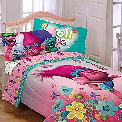 Amazon Com Dreamworks Trolls Reversible Twin Comforter