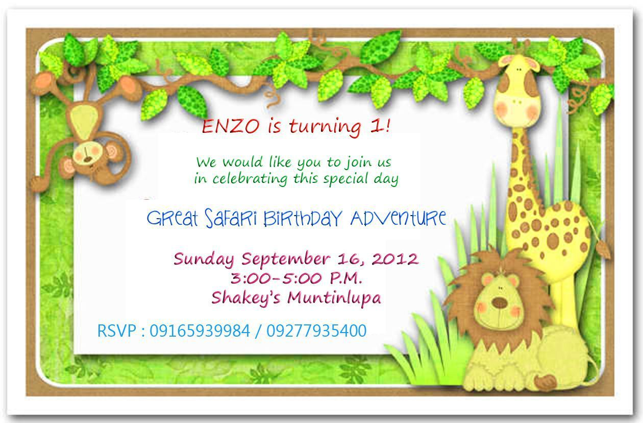 1st birthday invitations boy jungle theme | birthday invitations ...