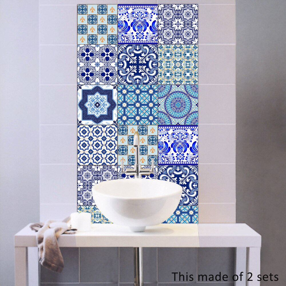Funlife Blue White Porcelain Tiles Sticker Waterproof Bathroom Stickers Self Adhesive Kitchen Wal Kitchen Wall Stickers Bathroom Stickers Tile Stickers Kitchen