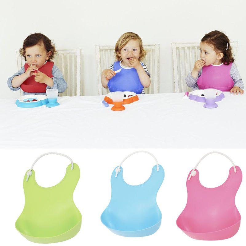 Cute Baby Bibs High Elastic Soft Plastic Bib With Food Catcher Baby Feeding 2c928d827