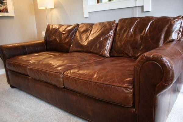 Restoration Hardware Leather Sleeper Sofa   Leather ...