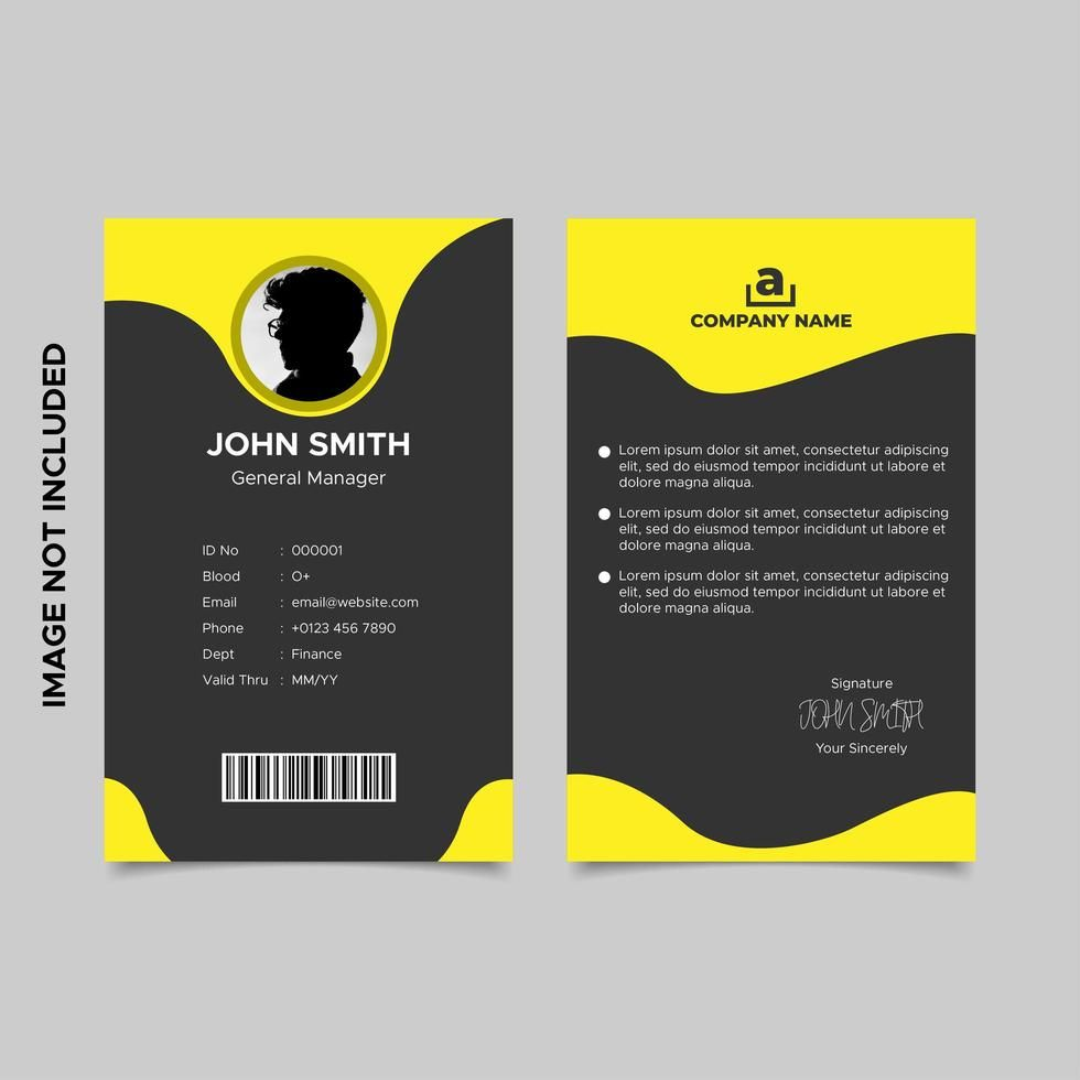Black and yellow employee id card template in 2020