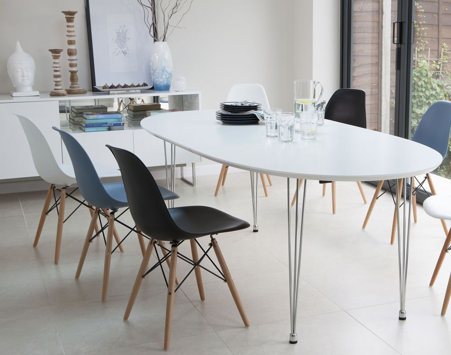 Ellie White Extending And Eames Style Dining Set Oval Kitchen