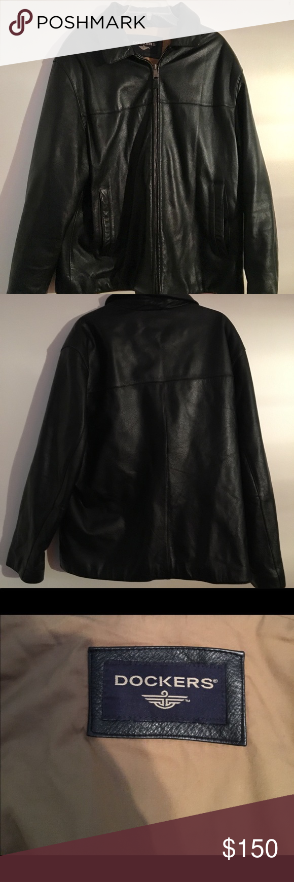 {Dockers} Genuine Black Leather Men's Jacket (With images
