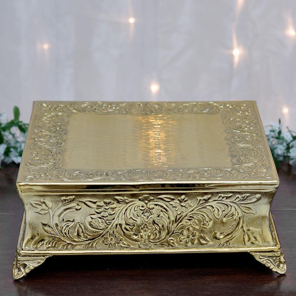 22 gold square embossed metal cake stand metal cake